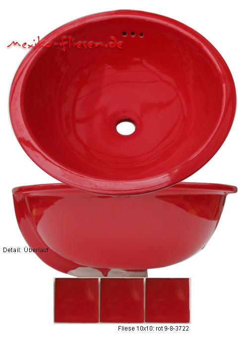 Waschbecken rund, 34,5cm, rot kaufen im Bunte Fliesen Shop. | {Waschbecken rund einbau 79}