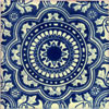 Handbemalte Fliese 10x10 - Rosario azul azul