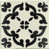 Handbemalte Fliese 10x10 - Barocco negro