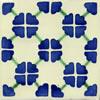 Handbemalte Fliese 10x10 - Clover azul verde