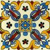 Handbemalte Fliese 10x10 - Arely blanco