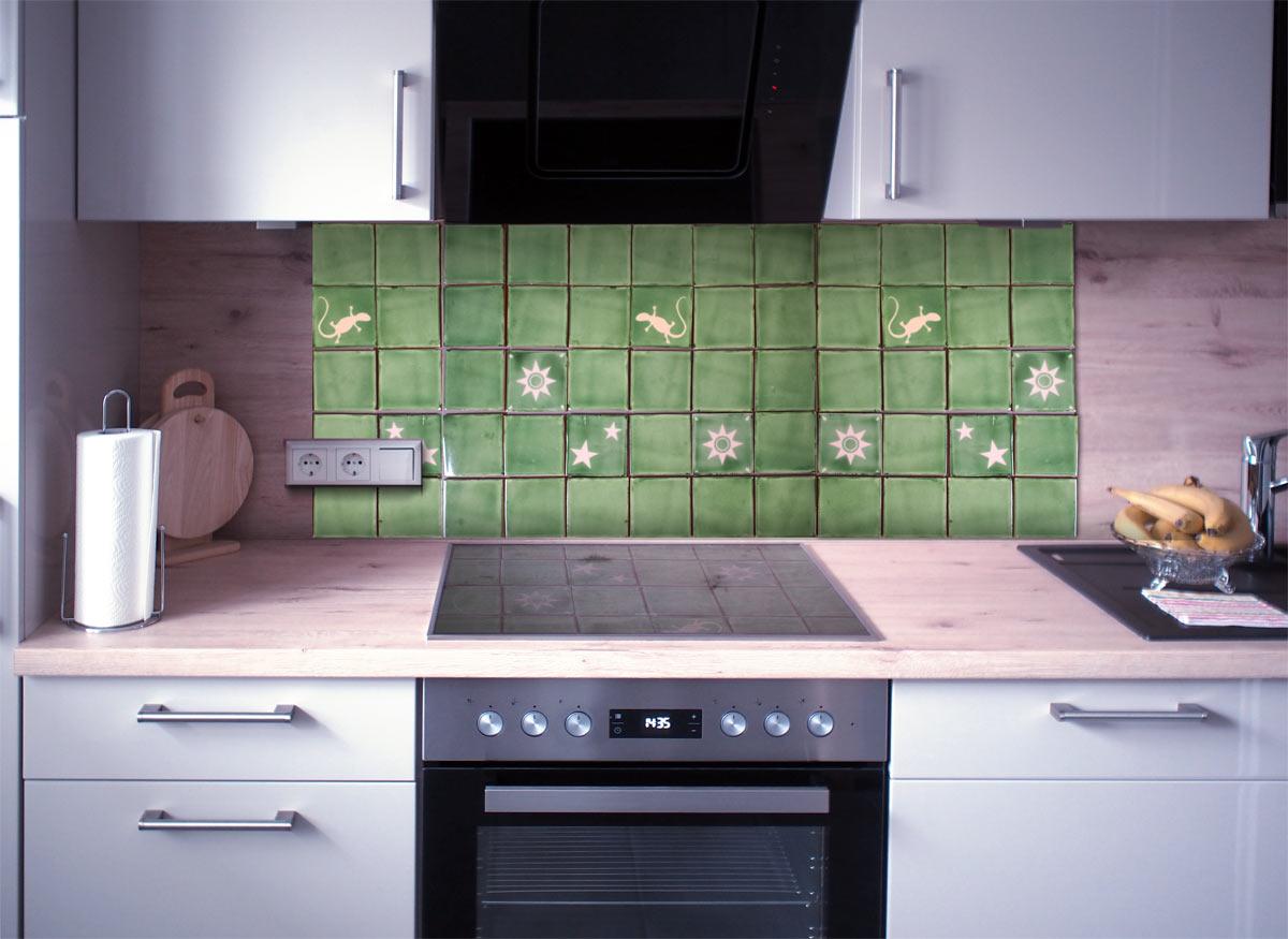 Kuchenspiegel Fliesenset Grun Weiss 30 Fliesen Kaufen Im Bunte