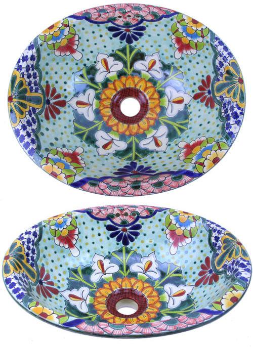 Waschbecken Oval 41x30 Flores Talavera Kaufen Im Bunte Fliesen Shop